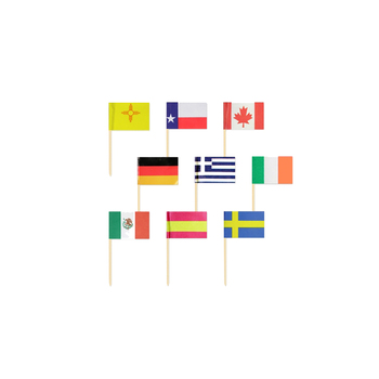Wooden greece toothpick assortment international toothpicks flags