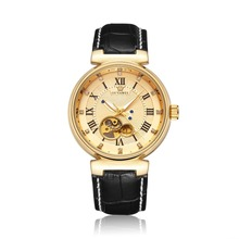 High Quality Leather Band Gold Diamond Face Automatic Custom Brand Watch