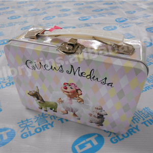 suitcase gift tin box with handle, small lunch tin box