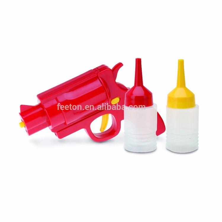 3pcs kitchen sauce gun set with plastic container and pump