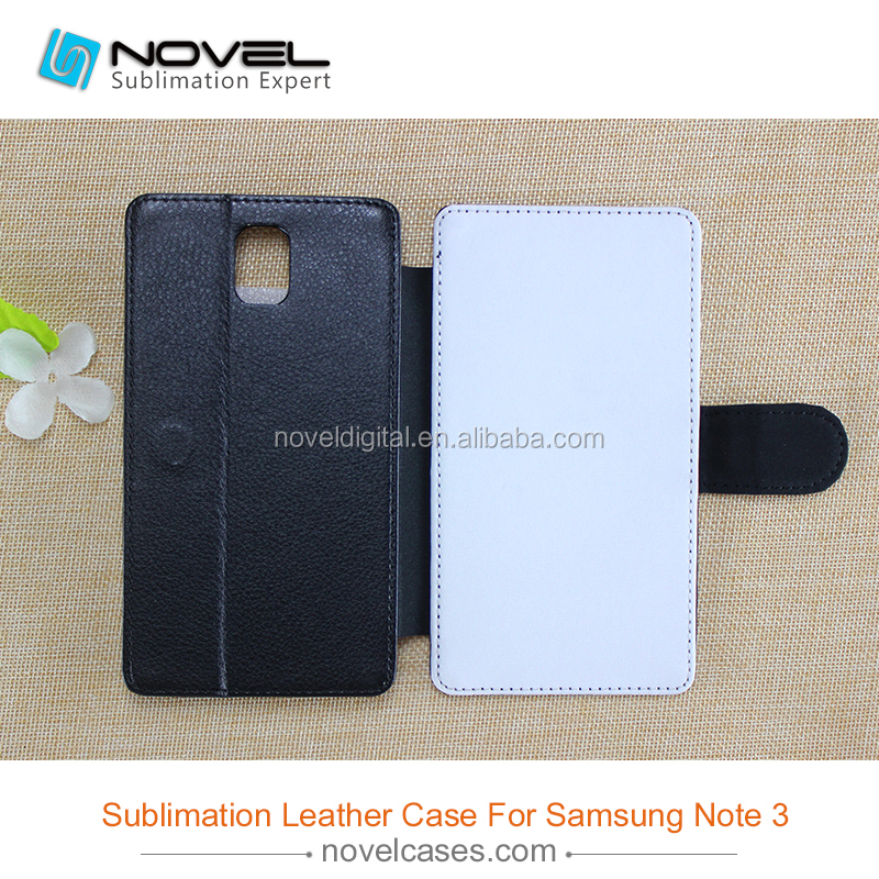 Best selling sublimation flip leather cover for samsung galaxy note 3, sublimation leather phone case