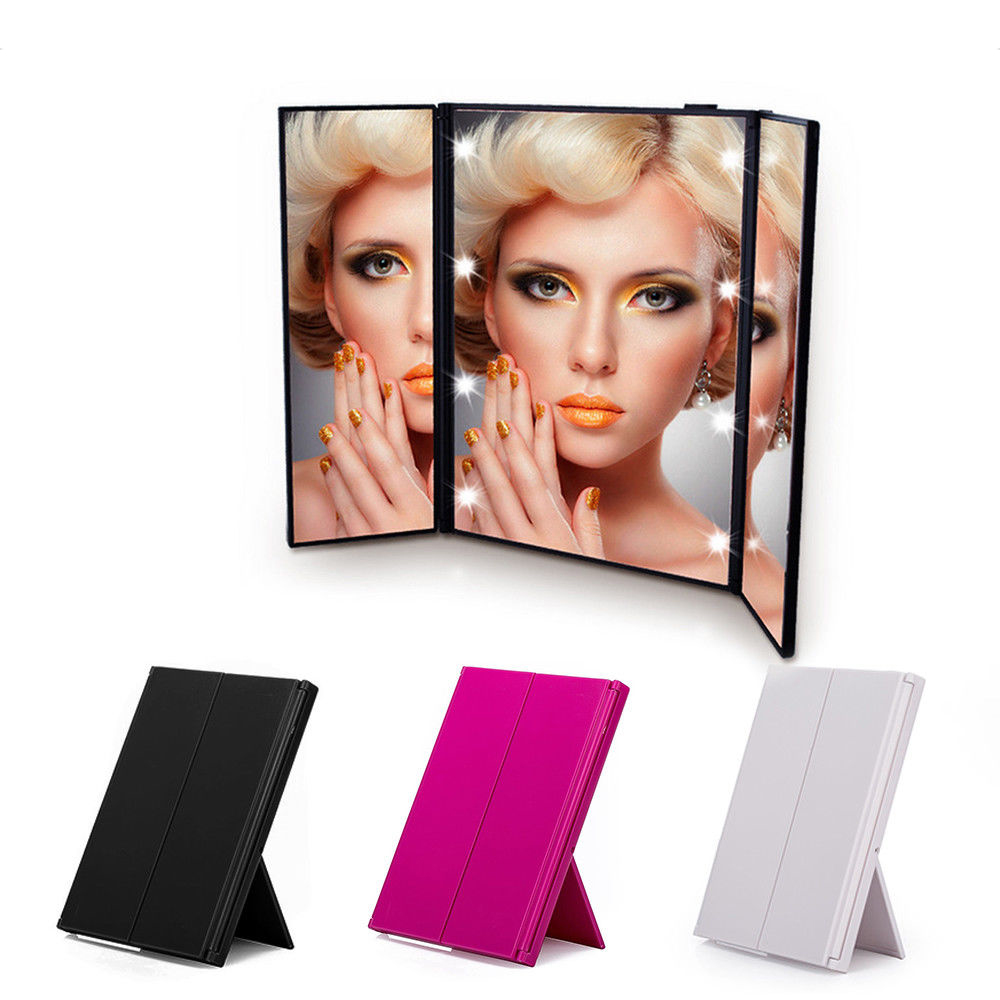 Fashion LED Makeup Mirrors Folding Compact Hand Cosmetic Pocket Mirror with LED Light