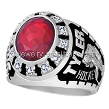 silver plating 3d printer men big red stone football champions ring
