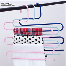 China factory High quality S-shape metal pants rack Hangers Wardrobe 5 Tiers Metal Rack