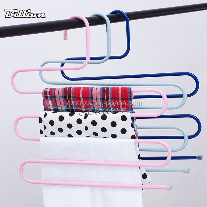 High quality S-shape metal pants rack Hangers Wardrobe 5 Tiers Metal Rack