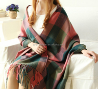 elegant womens laides plaid knitted cashmere shawl wraps