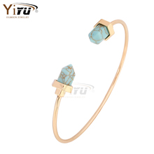 Natural Turquoise slim golden women Cuff Bangle Bracelet