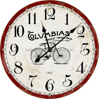 ROUND MDF WALL CLOCK With Bicycle Picture