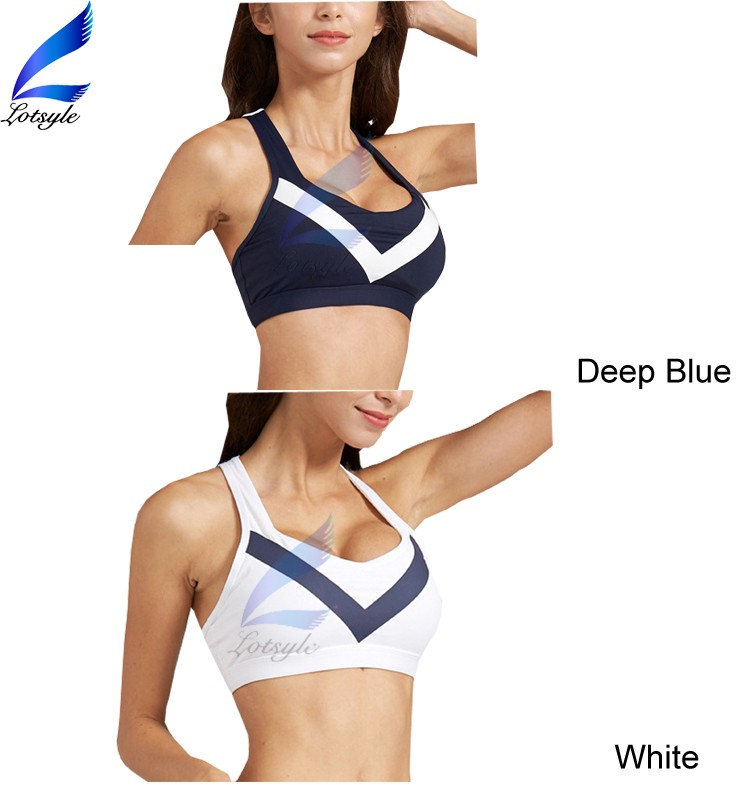 Lotsyle Splicing V Design Sexy Yoga Bra Tops for Women