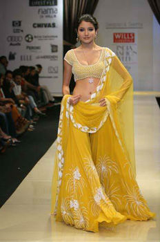 Yellow silk georgette Lehenga choli