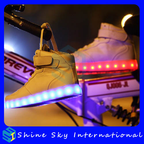 Carnival gifts unisex athletic sporting running shining led shoes with usb charger, high top customized unisex led shoes