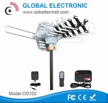 Global electronic remote controlled rotating outdoor amplified tv antenna made in China OD102