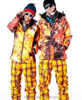 Yellow Men and Women Outdoor Sports waterproof 10000 ski and snowboarding suits