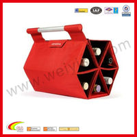 Ultimate Wine Bottle Carrying Case Red , Carry up to 6 bottles Wine holder in Sexangle Design For Aniversary 2013