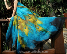 C12099A Bohemian Fashion Peacock Dress Hot Summer Sundress