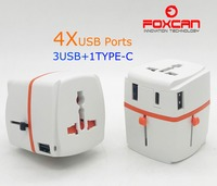 Universal travel adapter with 3 Type A & 1 Type C USB Charge