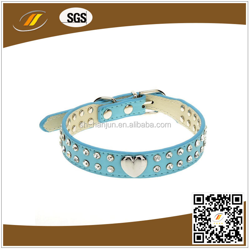 Rivet Blue Pu Leather Dog Collar