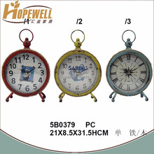 Manufacture vintage blue iron glass clock home decoration