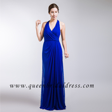 Wholesale V-neckline bridesmaid dresses Royal Blue chiffon bridesmaid gowns