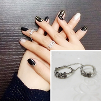 New Fashion Accessories Chain Link Rhinestone Vintage Double Finger Ring For Women Girl Nice Jewelry