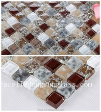 Factory price 300*300mm 8mm thickness Mix-color crackle glass mosaic tile for background wall