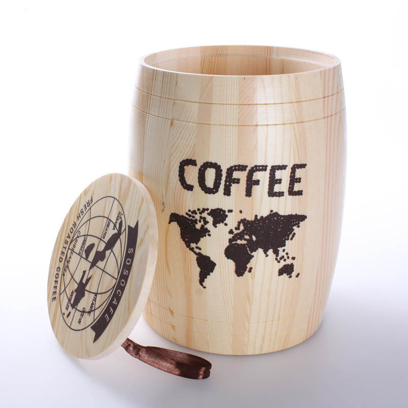 mini decorative wooden barrel storage can tank container for coffee beans