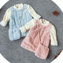caa10011 baby winter clothes soft cute baby fur dresses for girls