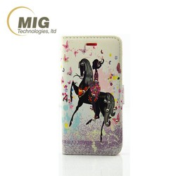 Cute Girl PU leather case, wallet case stand cover for iphone 7, for new iphone wallet cover