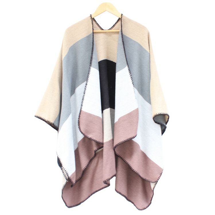 2016 Winter Blanket Poncho with Sleeve Women Plaid Cashmere Cape Pashmina Shawls and Scarves