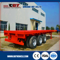 Stock price Tri axles 20' 40' platform high bed 40ft container flatbed semi trailers truck with 12 twist lock for sale