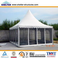 Small 3x3,4x4,5x5,6x6,8x8,10x10m Aluminum Garden Luxury Wedding Tent Pagoda Canopy with Slidind Door for Sale, High Peak Tent