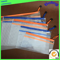 Top quality B4 A4 B5 A5 A6 transparent zipper file bag pvc mesh zipper document bag