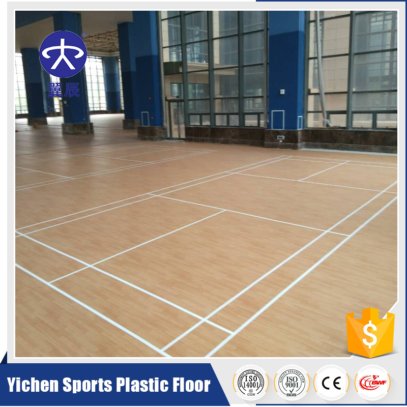 synthetic badminton court.