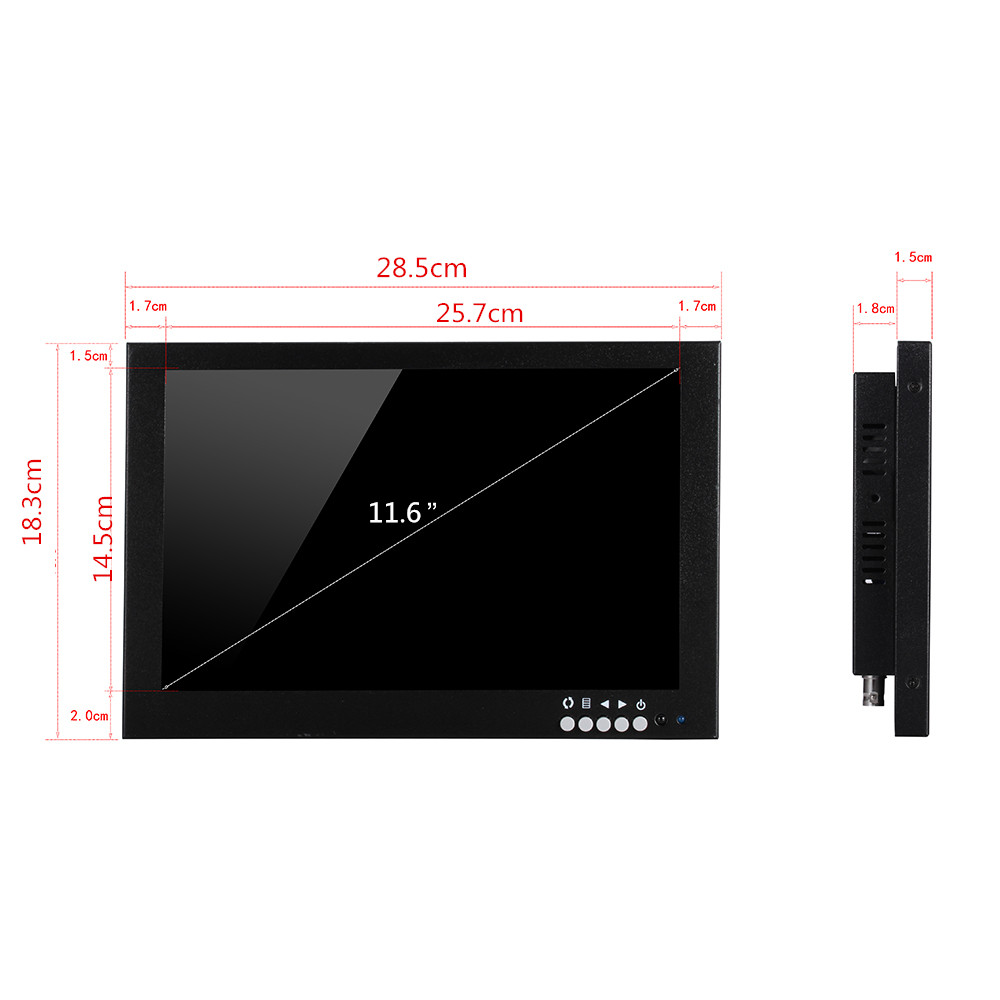 12 inch IPS monitor lcd cctv test monitor for security