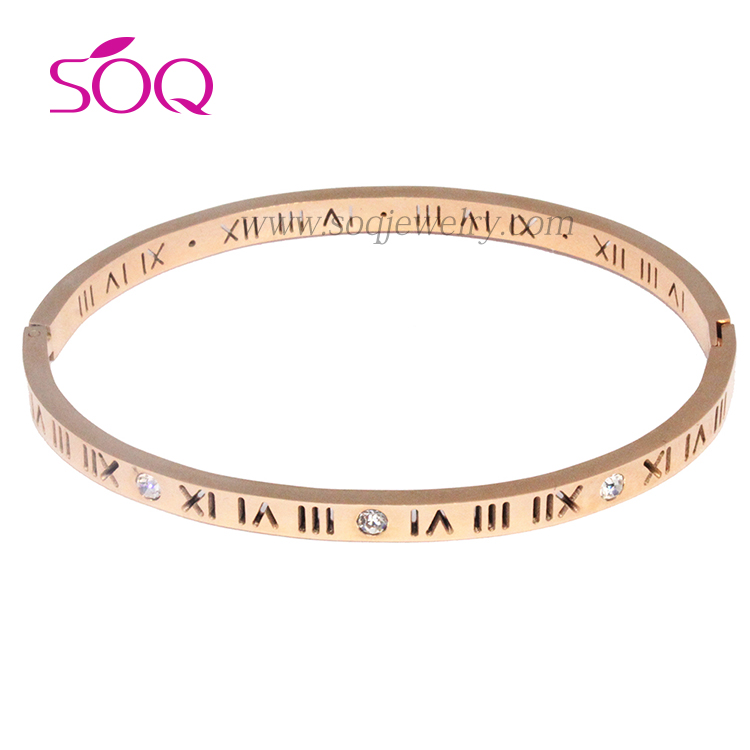 Stainless Steel Rose Gold Plated Engraved Thin Bangle for Women Jewelry