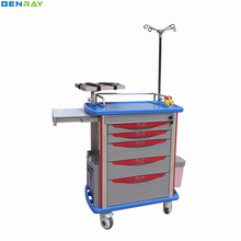 BR-ET001 Guangzhou Cheap Movable ABS Material Hospital Emergency Trolley Medical Crash Cart Trolley