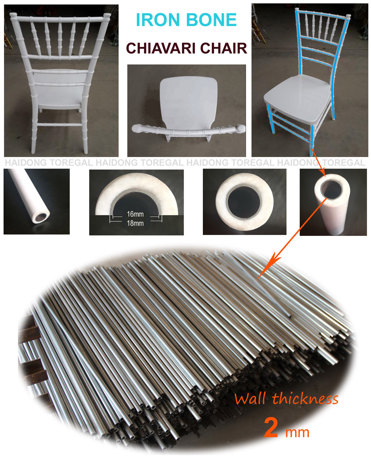 Iron Bone Metal Plastic PP Chiavari Chair