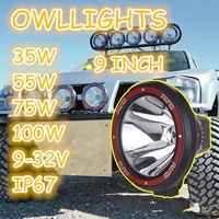 Toughened glass lens hid work light off road 4x4 9inch 35w 55w 75w 100w hid driving light flood/spot beam for SUV ATV 4WD