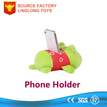 Green Soft Car Phone Support Plush Fabric Toy Phone Stand Cartoon Der Frog Embroidery Bean Bag Cell Phone Holder