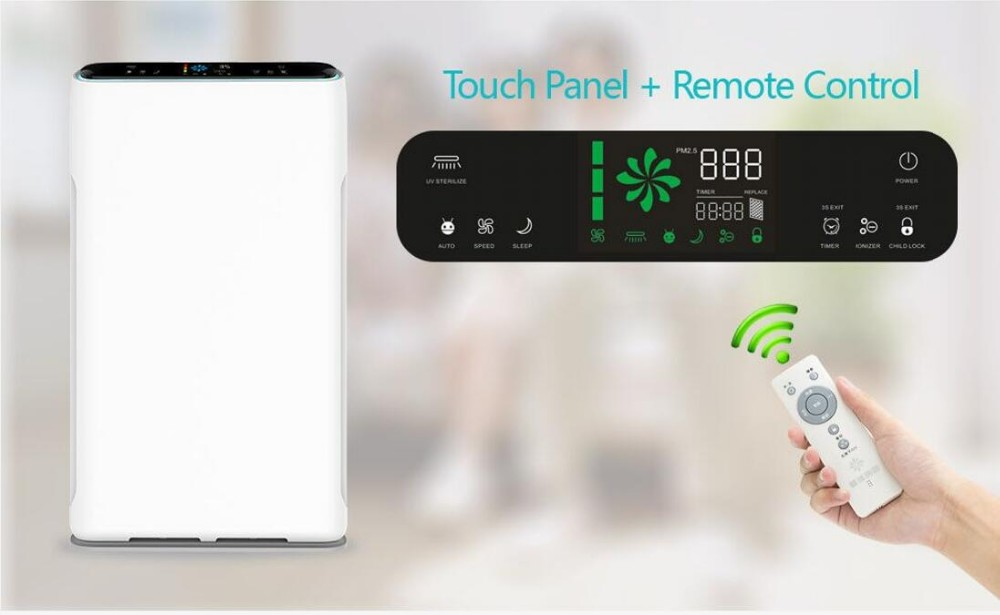 Negative anion home/office appliances with touch screen+remote control air machine with 7-stage filter/filtration