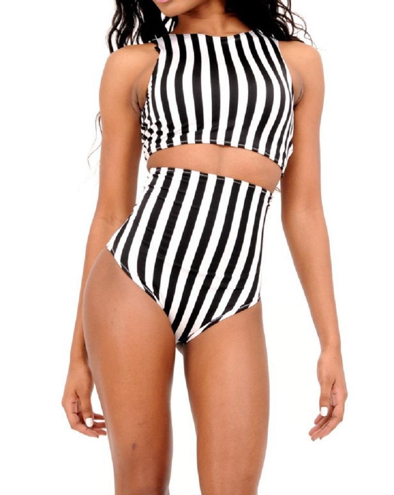 7b79f9112 Buy Bikini Brazilian New Women Sexy Striped Swimwear Bikinis set High Waist  Pattern Swimsuits Black and White Stripes Tankini Bikini in Cheap Price on  ...