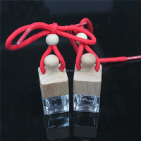 Perfume Bottles Clear Wooden Lid Home Car Hanging Air Freshener Perfume Fragrance Small Glass Empty Glass Bottle