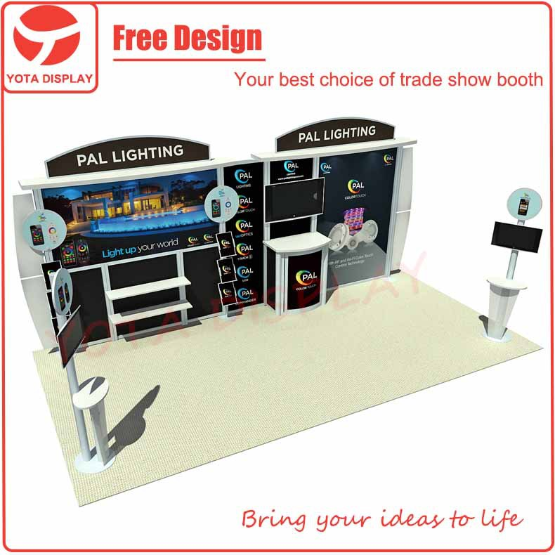 Yota 20' inline trade show booth with iPad Kiosk stand