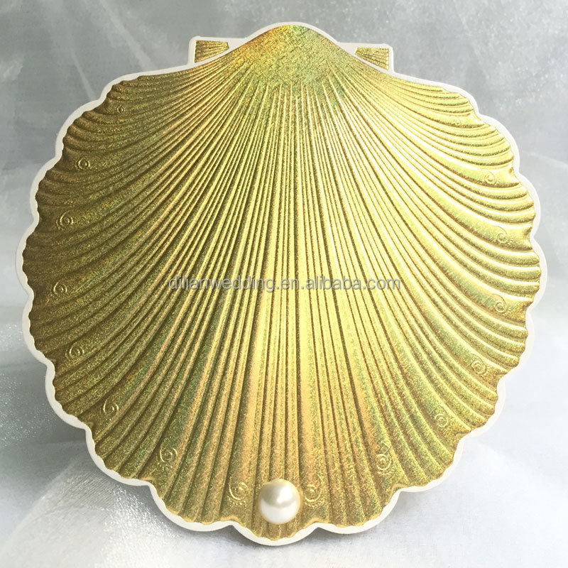 Popular Style In UK USA Middle East Africa Shell Shape Invitation – Indian Wedding Cards Usa