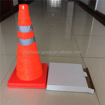 red and orange road safety collapsible cone