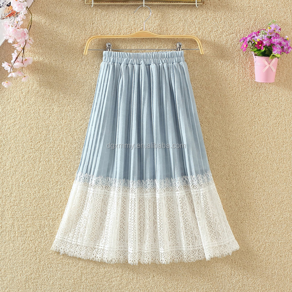 Summer Chiffon Skirt Middle Lace Casual Long Summer Skirts Ladies High Waist Pleated Skirt 2017 Fairy Yarn Skirt Spring