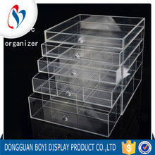 Deluxe Diamond Handle Clear Acrylic Makeup Organizer 5 Drawer