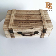 Shabby Chic Style Wooden Food Gift Box Antique Honey Box With Handle