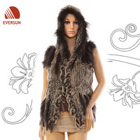 2014 Fashion Knitted Elegant Fur Shawl Poncho Jacket with hat for Lady