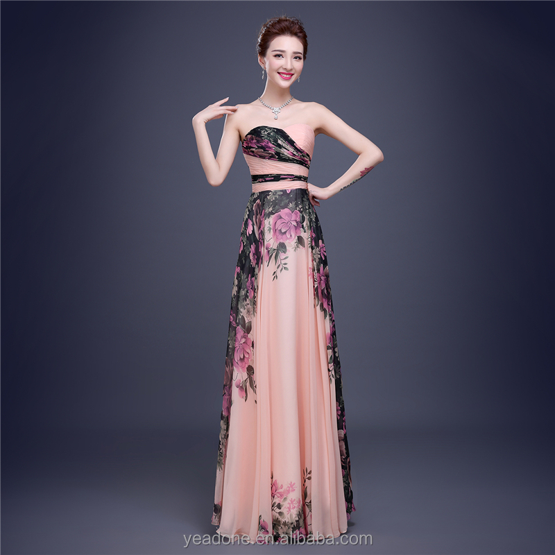 2018 China Factory Wholesale Long Floral Printed Chiffon Women Evening Dresses